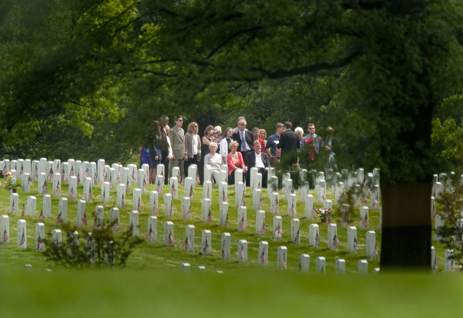 LCPL Jourdan Grez's graveside service at Arlington National Cemetery. Grez was killed May 11, 2005 when his amphibious assault vehicle struck an explosive device in Karabilah, Iraq.
