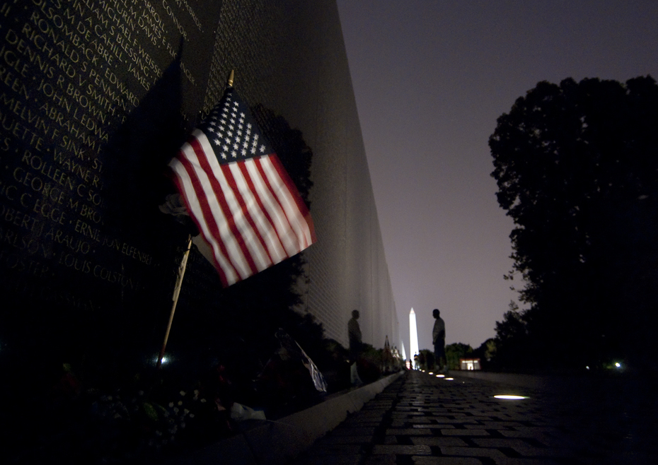 A late night visitor to the Vietnam Veteran's Memorial over Memorial Day weekend.
