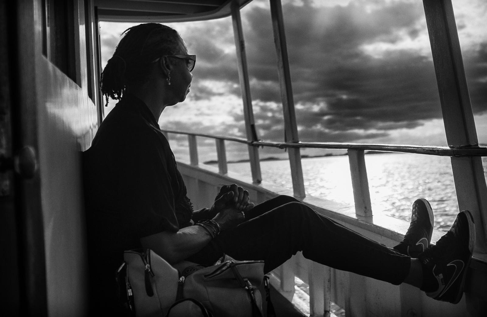 Yvonne Wilson rides the ferry to Daufuskie Island. Pete Marovich