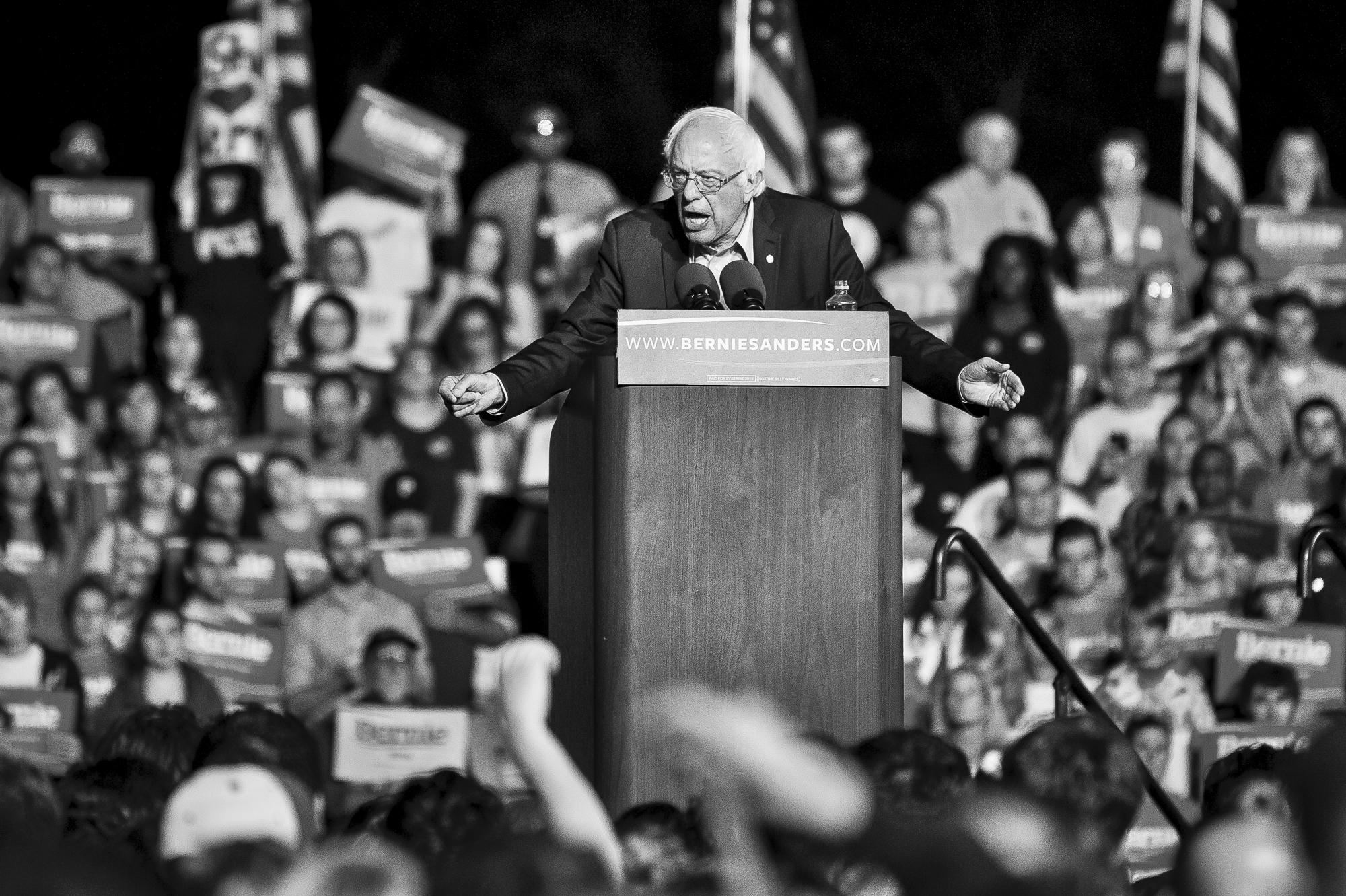 Bernie Sanders Campaigns in Manassas Va. Pete Marovich