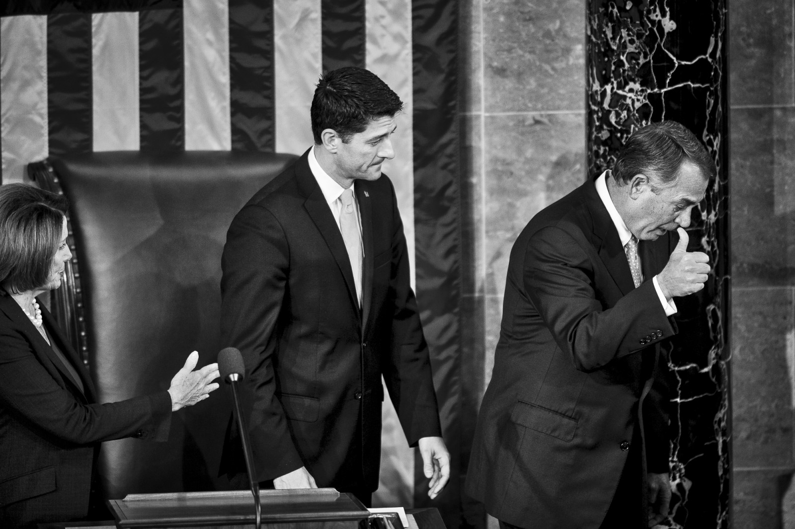 Democratic Minority Leader Nancy Pelosi and Speaker elect Paul Ryan (R-WI) look on as John Boehner (R-OH) leaves the chair for the final time on October 29, 2015 in Washington, D.C. Earlier the outgoing Speaker, Rep. John Boehner (R-OH), gave his farewell address to Congress. He is retiring on October 30, 2015. Photo by Pete Marovich/UPI