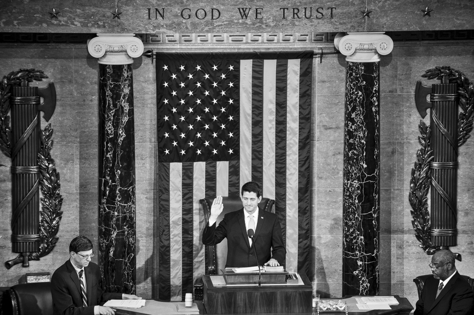 Speaker of the House Paul Ryan (R-WI) is sworn in after being elected Speaker of the House of Representatives on October 29, 2015 in Washington, D.C. Earlier the outgoing Speaker, Rep. John Boehner (R-OH), gave his farewell address to Congress. He is retiring on October 30, 2015. Photo by Pete Marovich/UPI